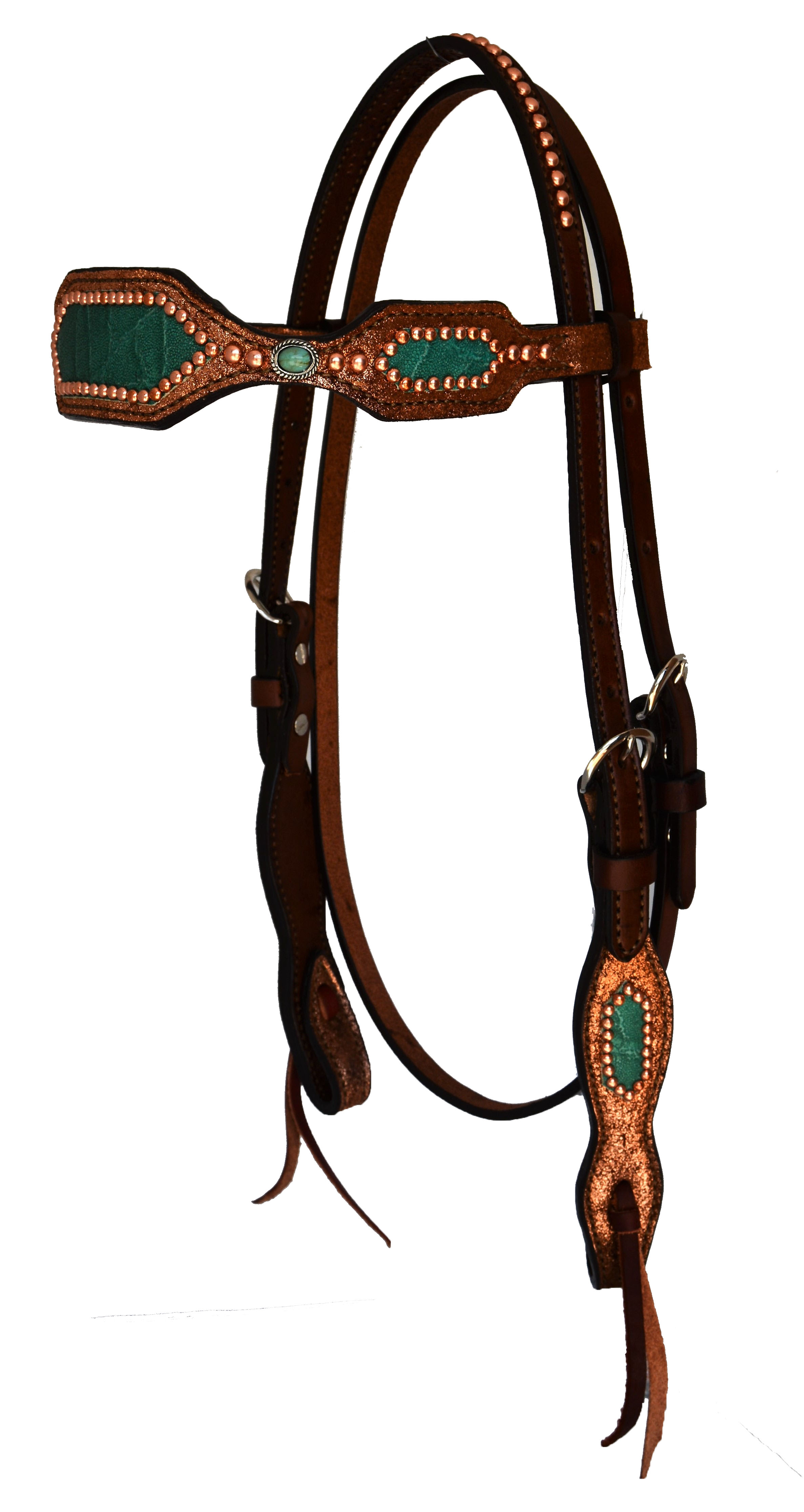 2285-CE HEADSTALL WITH COPPER CRACKLE BACKGROUND AND TURQUOISE ELEPHANT OVERLAY